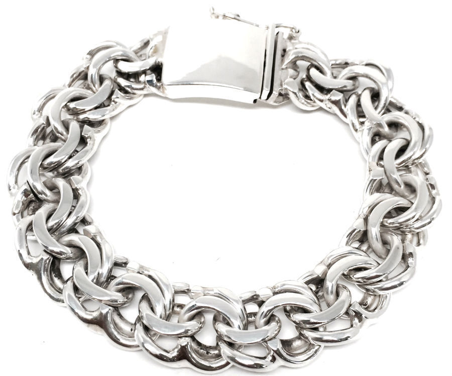 Silver Chain Link Bracelet: TAXCO MEXICAN 925 HEAVY STERLING SILVER MEN'S CHAIN LINK
