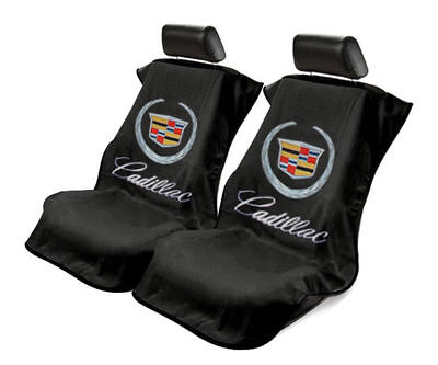 Pair (2) Universal Black Towel Seat Armour Cover Protectors For Cadillac