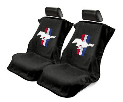Seat Armour 2 Piece Front Car Seat Covers For Mustang Pony - Black Terry Cloth