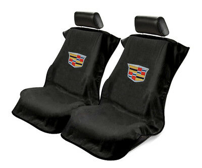 Seat Armour 2 Piece Front Car Seat Covers For New Cadillac - Black Terry Cloth