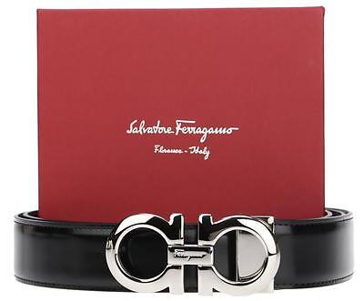NEW SALVATORE FERRAGAMO REVERSIBLE LEATHER PALLADIUM DOUBLE GANCIO LOGO BELT