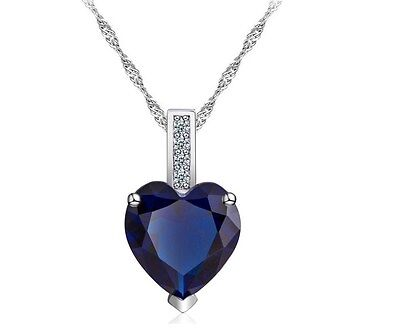 Created Sapphire Heart Pendant - 18