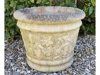 Large Weathered Heavy Vintage Stone Garden Planter / Plant Pot