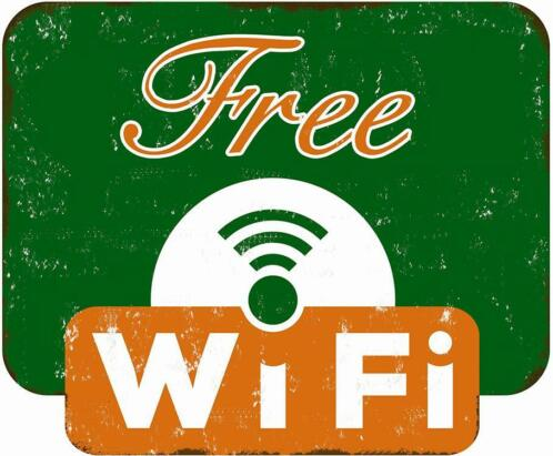 Free WiFi sign - info internet bord - oud wand decoratie