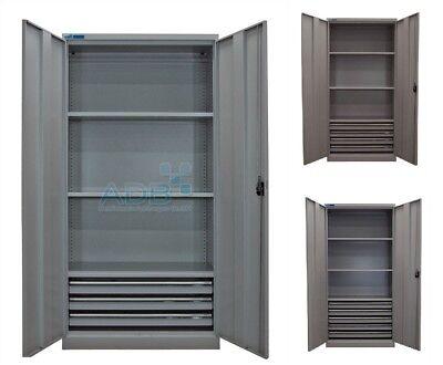 ADB Metall Flügeltürenschrank 195x95x50 cm 3 • 4 • 5 Schubladen grau 3 Fachböden - 5 Schublade Boden Schrank
