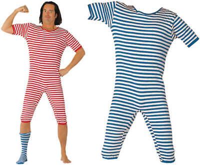 Badeanzug halbarm rot blau Nostalgie Ringelmuster Karneval Kostüm