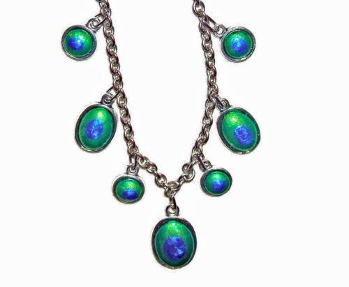 PEACOCK EYE PAINTED GLASS Necklace Collar Silver Plt Cabochon Drops Art Nouveau