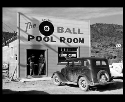1940 Pool Hall PHOTO 8 Ball Sign Billiards Great Depression Shasta Co,California