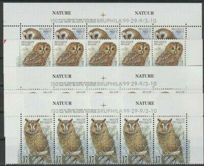 Belgique België 1999, 3 feuillets de timbres neufs MNH, bien