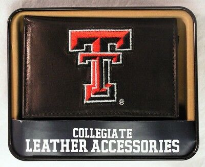 Texas Tech Red Raiders Embroidered Leather Trifold Wallet NEW in Gift Tin
