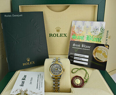ROLEX  Ladies 18kt Gold & Stainless Steel DateJust Slate Roman 69173 SANT BLANC