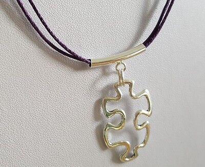 Autism Awareness Charm on Purple Waxed Hemp Necklace