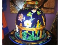 Majolica Daisey and Fence half stilton cheese keeper with stand