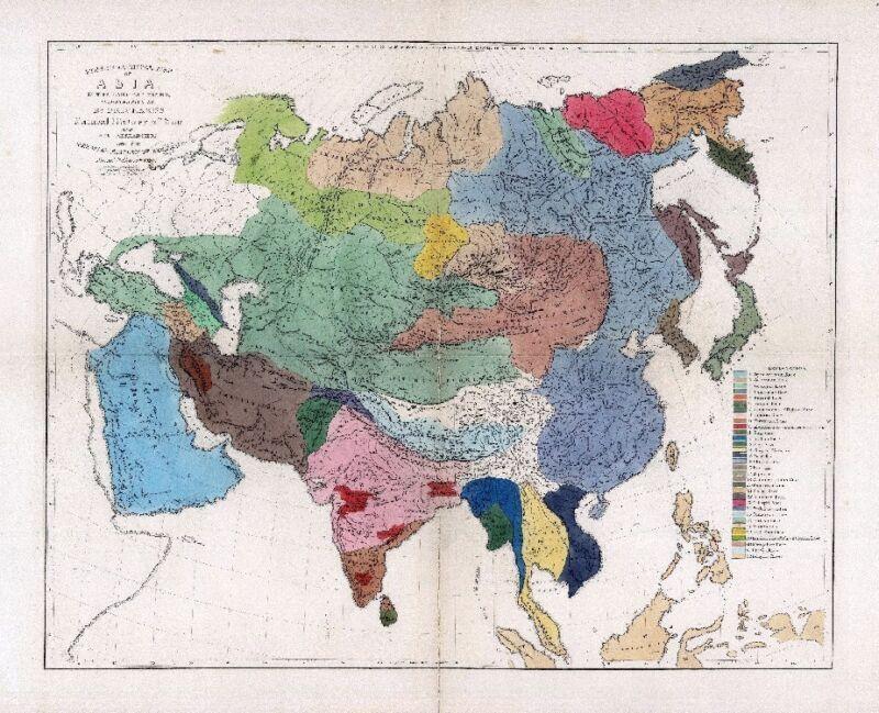 1861 ETHNOLOGY map ASIA people ANCIENT RACES aborigines India CHINA Kurd Japan 4