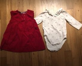 Mothercare red corduroy dress & top 3-6 months