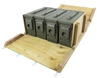4 - M19A1 30 cal Ammo Cans / Ammo Box in Military Surplus Wood Ammo Crate