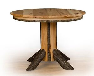 Rustic Hickory Oak Single Pedestal Round Dining Table