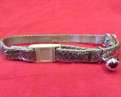 Cat Kitten Collar Nylon Glitter SILVER Quick Release Safety Buckle & Bell
