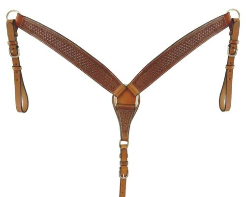 Western Saddle Horse Heavy Duty Hand Tooled Leather Breast Collar Roping Ranch