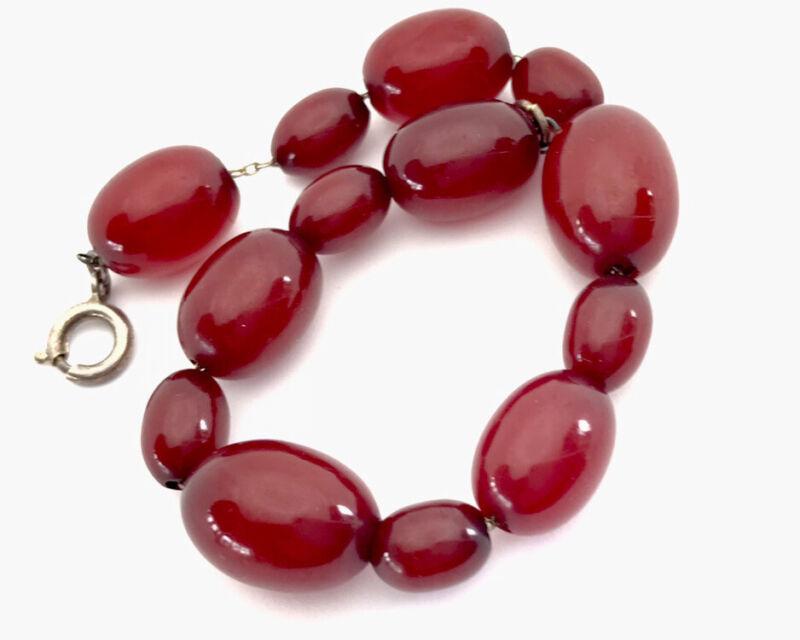 "Antique Vintage Sterling Silver Chain Cherry Amber BAKELITE Bead Bracelet 8"""