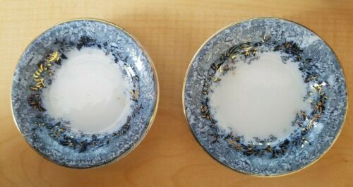 2 Vintage Delicate Blue Floral Butter Pats w Gold Trim - England