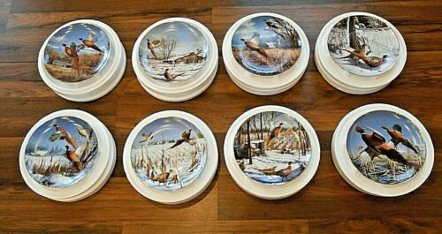 Complete Set Lot 8 Danbury Mint David Maass Pheasant Collector Plate Collection