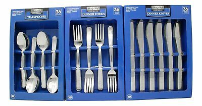 Forks Spoons Knives (Daily Chef Dinner Forks,Spoons, and Knives Flatware - 108 Pieces Windsor)