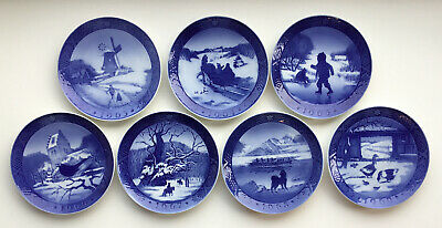 Lot of 7 Royal Copenhagen Blue Christmas Plates 1963, 64, 65, 66, 67, 68, 69 EUC