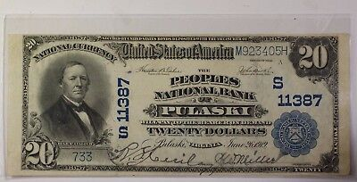 Us  20 National Banknote Series 1902 Bank Of Pulaski Virginia Serial  9012