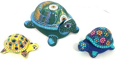 3 Turtle Trinket Jewelry Boxes Terracotta Clay multi colored art small med & lg