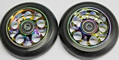 2 R4 Oil Slick Neo Chrome Scooter 100MM Metal Core Wheels W/ Abec 9 Bearings  100 Mm Scooter Wheels