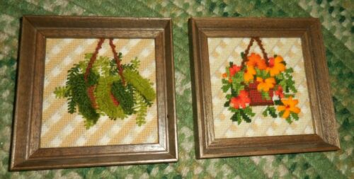 Sunset Crewel Embroidery FRAMED 6 X 6, TWO  FERNS FLORAL  in VASES