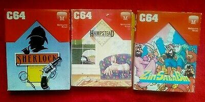 3 x Tested Commodore 64, Sherlock, Hampstead, ZSB Graphic & Text Adventure Games