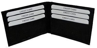 New Super A Mens Bifold Genuine Leather Wallet Pockets Card ID Black Slim Thin Super Slim Leather