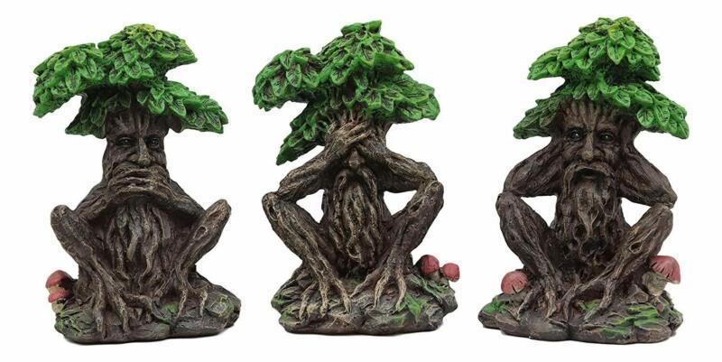 Ebros Wiccan Forest Spirit Deity See Hear Speak No Evil Greenman Statue