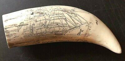 """BARK VERONICA"" fine details  historic Sperm whale tooth scrimshaw reproduction"