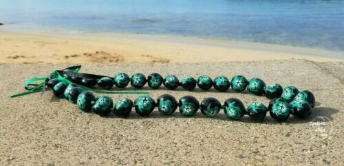 Kukui Nut Lei Hawaiian Necklace Wedding Hawaii Lei Party Green Turtle Hibiscus