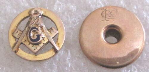 Antique 10K Gold Freemason Lapel Pin - Masonic Lodge Mason Screw Back