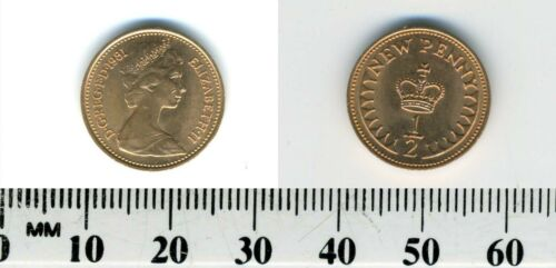 GREAT BRITAIN 1981 -  1/2 New Penny Bronze Coin - Queen Elizabeth II