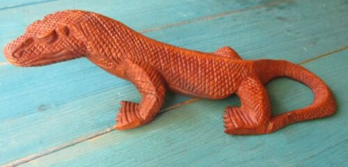 KOMODO DRAGON WOOD HAND CARVED LIZARD HOME DECOR TRIBAL