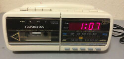 Vintage Soundesign Clock Radio Cassette Phone Alarm 7580IVY Tested Working Clean