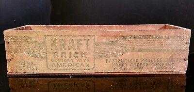 Kraft 5 LB Brick American Cheese Box VINTAGE Wood  Chicago, IL  FREE SHIP