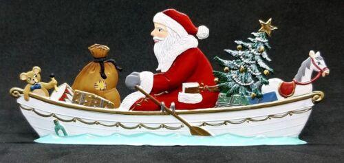 """ARTIST WILHELM SCHWEIZER GERMAN ZINNFIGUREN - Rowing Santa (5.5""""x 2.5"""")"""