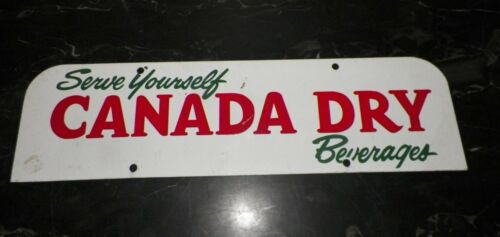 VINTAGE SERVE YOURSELF CANADA DRY BEVERAGES TIN PAINTED SIGN FROM DISPLAY RACK