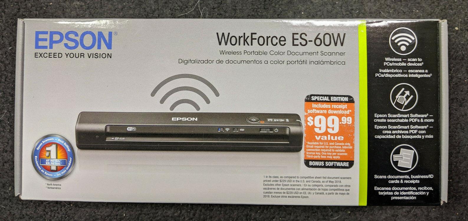 Epson WorkForce ES-60W Wireless Portable Color Document Scan