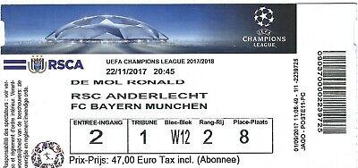 Ticket: Anderlecht - Bayern Munich UEFA Champions League (22-11-17)