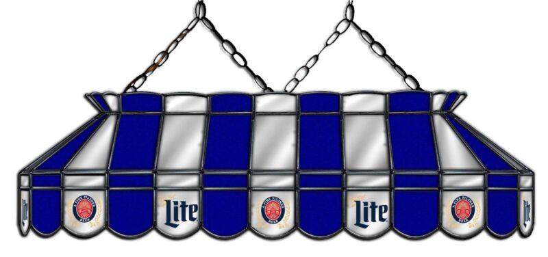 Miller Lite Beer Billiards Stained Glass Mirror Pool Table Light Lamp Billiards