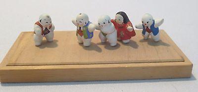 Vtg Japanese Miniature Micro Japanese Hand Painted pottery people Sumo Kimono