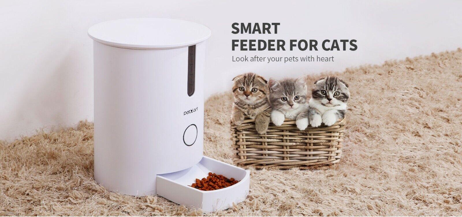 PETWANT F3 WIFI Smart Cat Pet Feeder Remote Phone App Auto Time Alarm GemPet