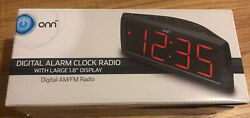 ONN AM/FM Digital Alarm Clock Radio, Black, LED... BRAND NEW. NEVER OPENED.